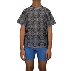 Line Geometry Pattern Geometric Kids  Short Sleeve Swimwear