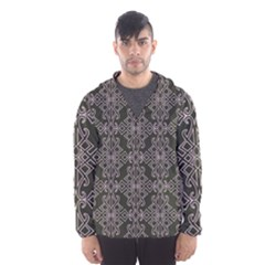 Line Geometry Pattern Geometric Hooded Wind Breaker (Men)