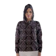 Line Geometry Pattern Geometric Hooded Wind Breaker (women)