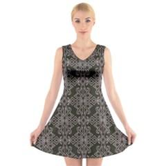 Line Geometry Pattern Geometric V-Neck Sleeveless Skater Dress