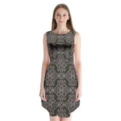 Line Geometry Pattern Geometric Sleeveless Chiffon Dress