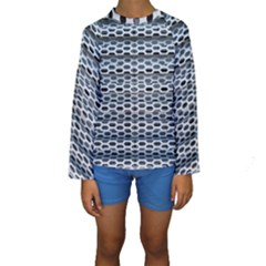 Texture Pattern Metal Kids  Long Sleeve Swimwear