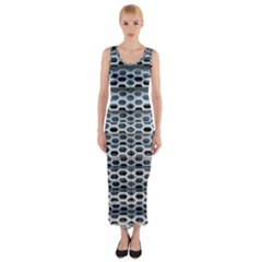 Texture Pattern Metal Fitted Maxi Dress