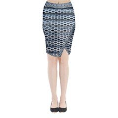 Texture Pattern Metal Midi Wrap Pencil Skirt