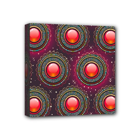 Abstract Circle Gem Pattern Mini Canvas 4  X 4
