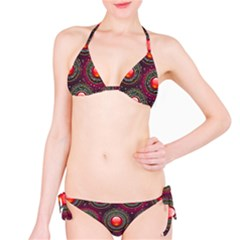 Abstract Circle Gem Pattern Bikini Set