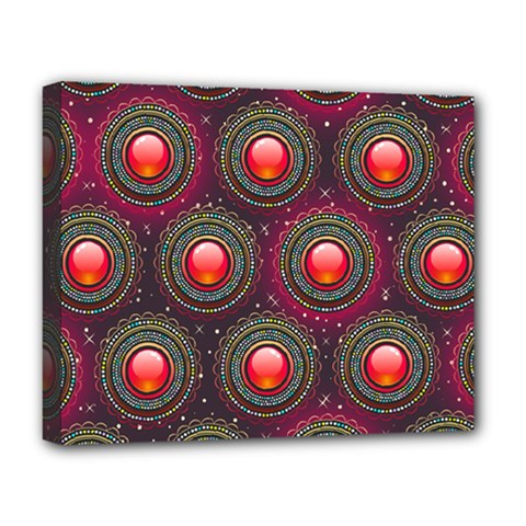 Abstract Circle Gem Pattern Deluxe Canvas 20  x 16