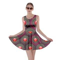 Abstract Circle Gem Pattern Skater Dress