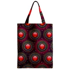Abstract Circle Gem Pattern Zipper Classic Tote Bag