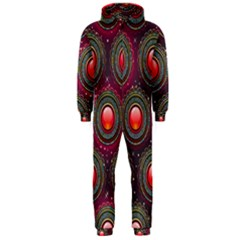 Abstract Circle Gem Pattern Hooded Jumpsuit (men)