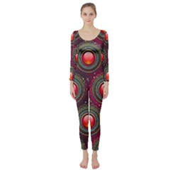 Abstract Circle Gem Pattern Long Sleeve Catsuit