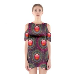 Abstract Circle Gem Pattern Shoulder Cutout One Piece