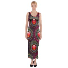 Abstract Circle Gem Pattern Fitted Maxi Dress