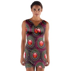 Abstract Circle Gem Pattern Wrap Front Bodycon Dress