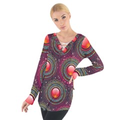 Abstract Circle Gem Pattern Women s Tie Up Tee