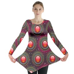 Abstract Circle Gem Pattern Long Sleeve Tunic