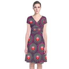 Abstract Circle Gem Pattern Short Sleeve Front Wrap Dress
