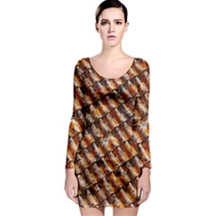 Dirty Pattern Roof Texture Long Sleeve Bodycon Dress