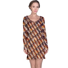 Dirty Pattern Roof Texture Long Sleeve Nightdress
