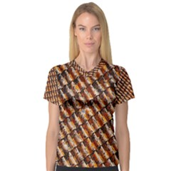 Dirty Pattern Roof Texture Women s V Neck Sport Mesh Tee