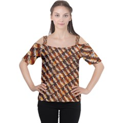 Dirty Pattern Roof Texture Women s Cutout Shoulder Tee
