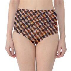Dirty Pattern Roof Texture High Waist Bikini Bottoms
