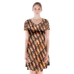 Dirty Pattern Roof Texture Short Sleeve V Neck Flare Dress