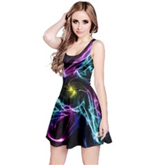 Abstract Art Color Design Lines Reversible Sleeveless Dress