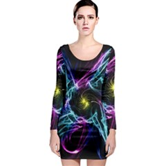 Abstract Art Color Design Lines Long Sleeve Bodycon Dress