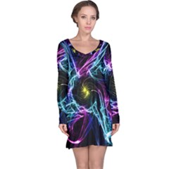 Abstract Art Color Design Lines Long Sleeve Nightdress