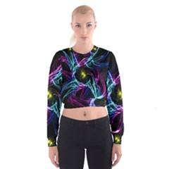 Abstract Art Color Design Lines Cropped Sweatshirt