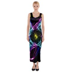 Abstract Art Color Design Lines Fitted Maxi Dress