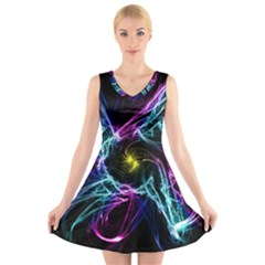 Abstract Art Color Design Lines V Neck Sleeveless Skater Dress