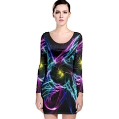 Abstract Art Color Design Lines Long Sleeve Velvet Bodycon Dress