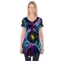 Abstract Art Color Design Lines Short Sleeve Tunic