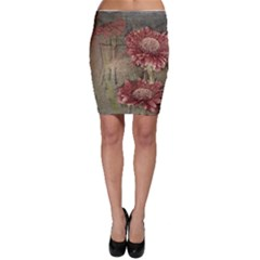 Flowers Plant Red Drawing Art Bodycon Skirt
