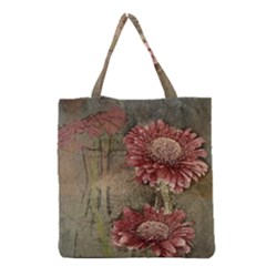 Flowers Plant Red Drawing Art Grocery Tote Bag
