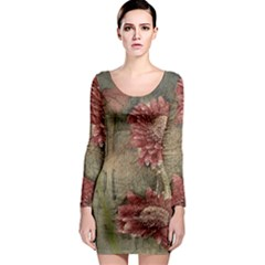 Flowers Plant Red Drawing Art Long Sleeve Bodycon Dress