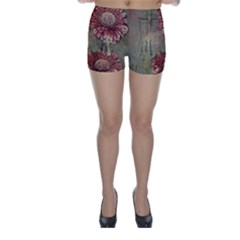 Flowers Plant Red Drawing Art Skinny Shorts