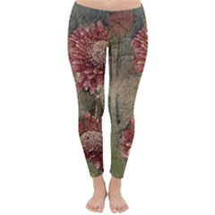 Flowers Plant Red Drawing Art Classic Winter Leggings