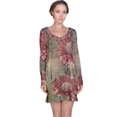 Flowers Plant Red Drawing Art Long Sleeve Nightdress