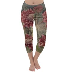 Flowers Plant Red Drawing Art Capri Winter Leggings