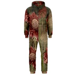 Flowers Plant Red Drawing Art Hooded Jumpsuit (Men)