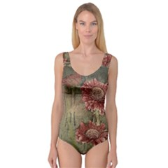 Flowers Plant Red Drawing Art Princess Tank Leotard