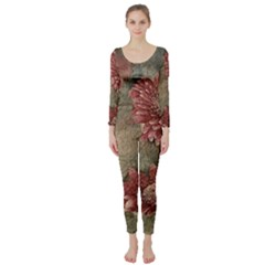 Flowers Plant Red Drawing Art Long Sleeve Catsuit