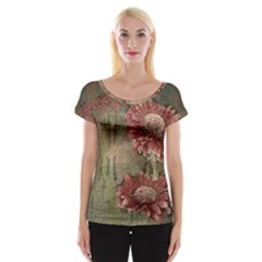 Flowers Plant Red Drawing Art Women s Cap Sleeve Top