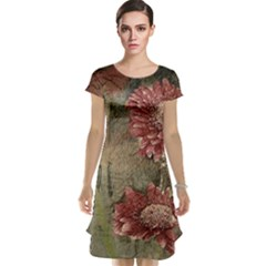 Flowers Plant Red Drawing Art Cap Sleeve Nightdress