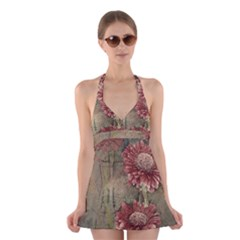 Flowers Plant Red Drawing Art Halter Swimsuit Dress