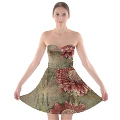Flowers Plant Red Drawing Art Strapless Bra Top Dress