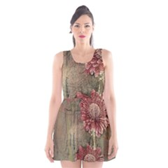 Flowers Plant Red Drawing Art Scoop Neck Skater Dress